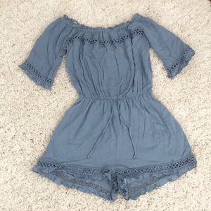 Off the shoulder frill detail romper